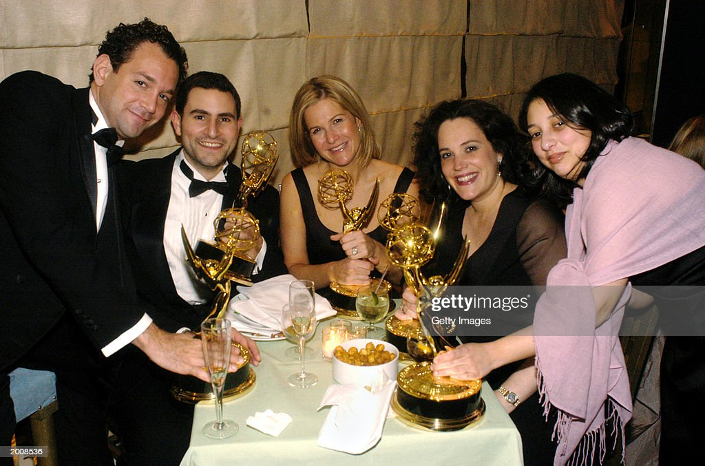 Patrick Ignozzi, Matthew J. Strauss, Haleigh Safran, Jennifer Brookman and Dana Goodman, producers for 'The View,' pose with their awards for Best Daytime Talk Show at the ABC after party for the 30th Annual Daytime Emmy Awards at the Sea Grill Restaurant May 16, 2003 in New York City.