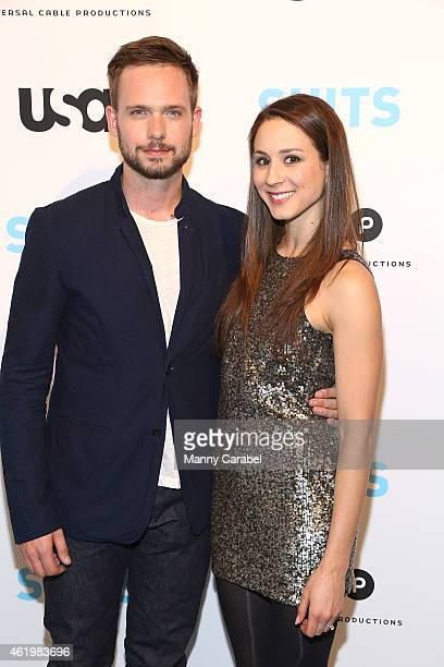 Patrick J Adams and Troian Bellisario attend BEHIND THE LENS An Intimate Look At The World of 'SUITS' at Meatpacking District Gallery on January 22...