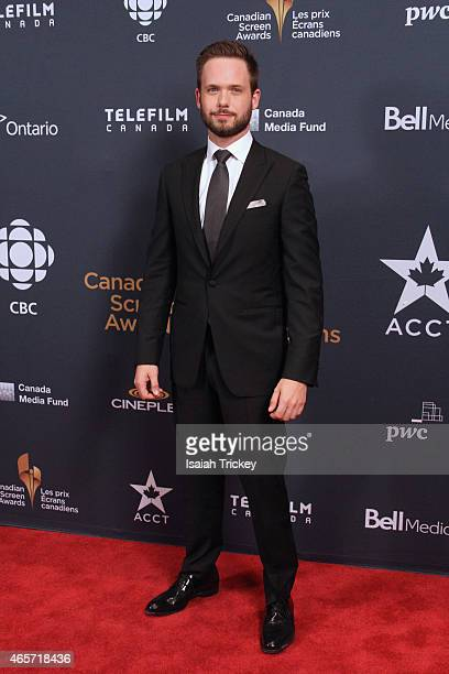 Patrick J Adams poses in the press room at the 2015 Canadian Screen Awards at the Four Seasons Centre for the Performing Arts on March 1 2015 in...