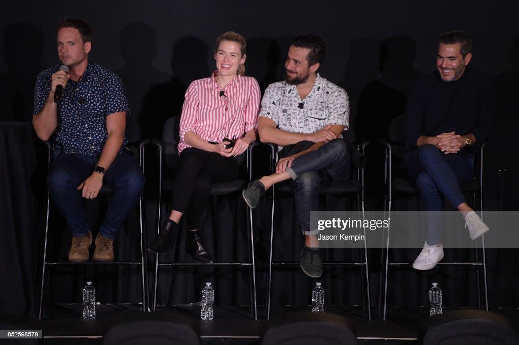 Patrick J. Adams, Rachael Taylor and Mike Piscitelli speak at the Tribeca TV Festival screening of Pillow Talk at Cinepolis Chelsea on September 23, 2017 in New York City.