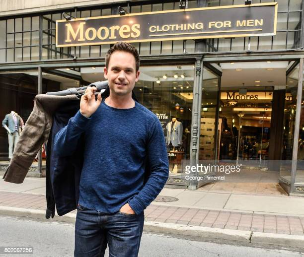Patrick J Adams supports Moores Clothing for Men Canadian Suite Drive at Moores Clothing on June 27 2017 in Toronto Canada