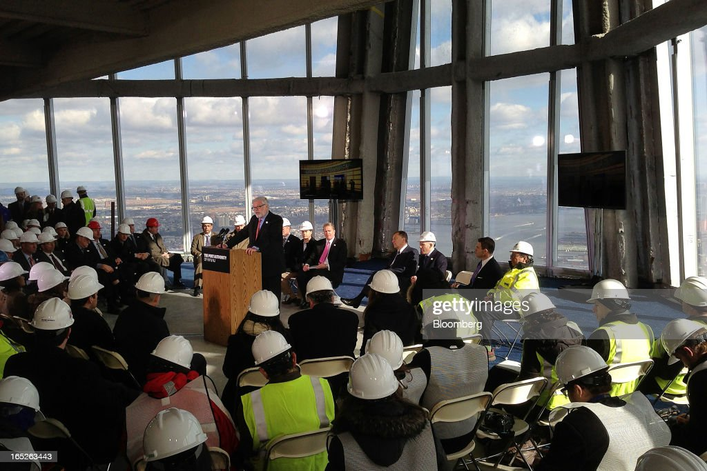Patrick J. Foye, executive director of the Port Authority of New York and New Jersey, speaks during a media tour of the One World Trade Center observation deck in New York, U.S., on Tuesday, April 2, 2013. The observation deck at One World Trade Center, expected to open in 2015, will occupy the tower's 100th through 102nd floors. Guests visiting the observation deck will see a 'pre-show' about the creation of the building while waiting in line in the lobby. Photographer: Victor J. Blue/Bloomberg via Getty Images