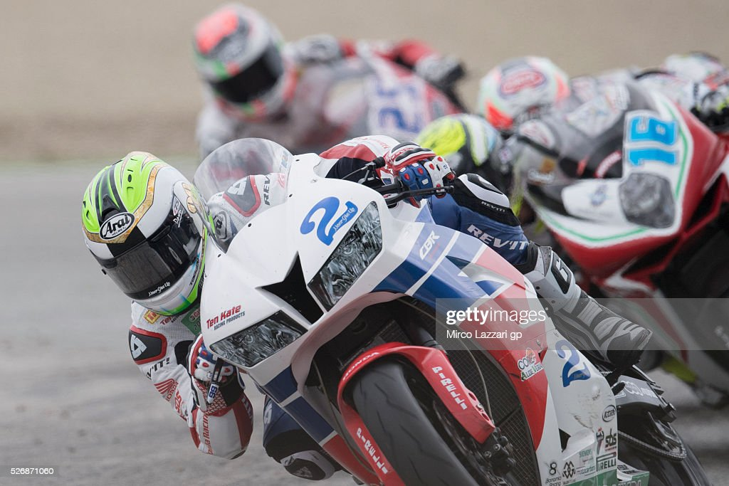 Patrick Jacobsen of USA and Honda World Supersport Team leads the field during the Supersport race during the World Superbikes - Race at Enzo & Dino Ferrari Circuit on May 10, 2015 in Imola, Italy.