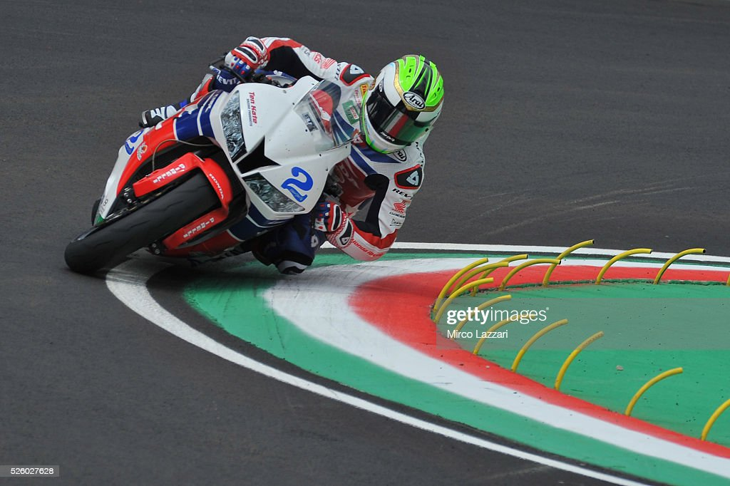 Patrick Jacobsen of USA and Honda World Supersport Team rounds the bend during the World Superbikes - Practice at Enzo & Dino Ferrari Circuit on April 29, 2016 in Imola, Italy.