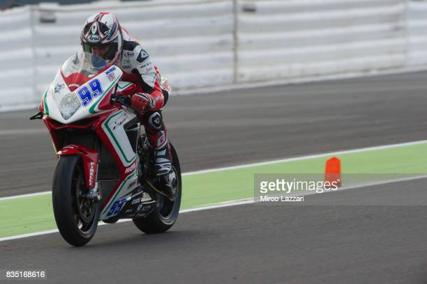 Patrick Jacobsen of USA and MV Agusta Reparto Corse heads down a straight during the FIM Superbike World Championship Qualifying at Lausitzring on...