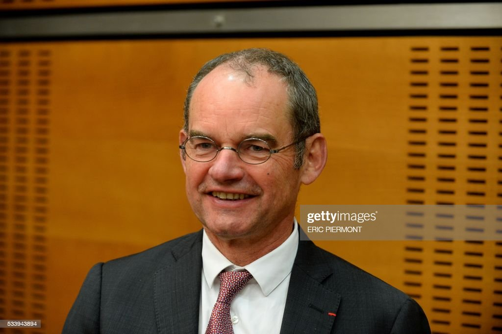 Patrick Jeantet, candidate as Deputy Chairman of the Executive Board of French national state-owned railway company SNCF arrives at the French National Assembly to attend his hearing by the Sustainable Development commission in Paris on May 24, 2016. / AFP / ERIC