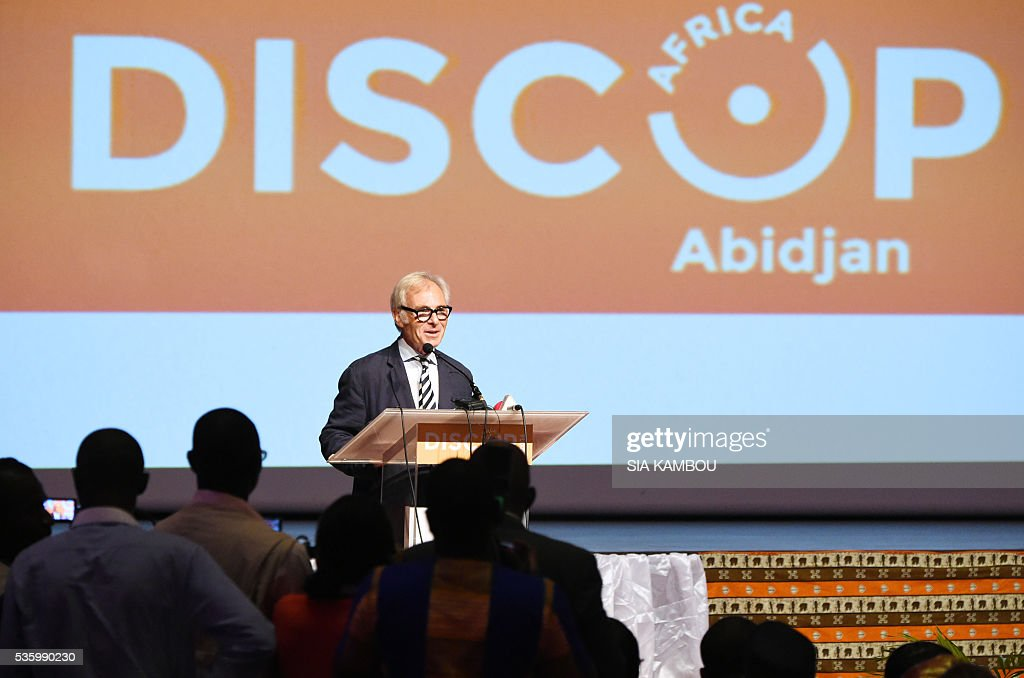 Patrick Jucaud-Zuchowicki, CEO of Basic Lead, speaks on the opening day of the DISCOP Africa, a meeting focused on audiovisual content distribution and production on May 31, 2016 in Abidjan. KAMBOU