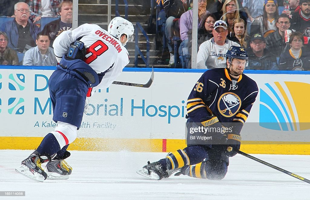 <a gi-track='captionPersonalityLinkClicked' href=/galleries/search?phrase=Patrick+Kaleta&family=editorial&specificpeople=714513 ng-click='$event.stopPropagation()'>Patrick Kaleta</a> #36 of the Buffalo Sabres blocks a shot by Alex Ovechkin #8 of the Washington Capitals on March 30, 2013 at the First Niagara Center in Buffalo, New York. Washington defeated Buffalo, 4-3.