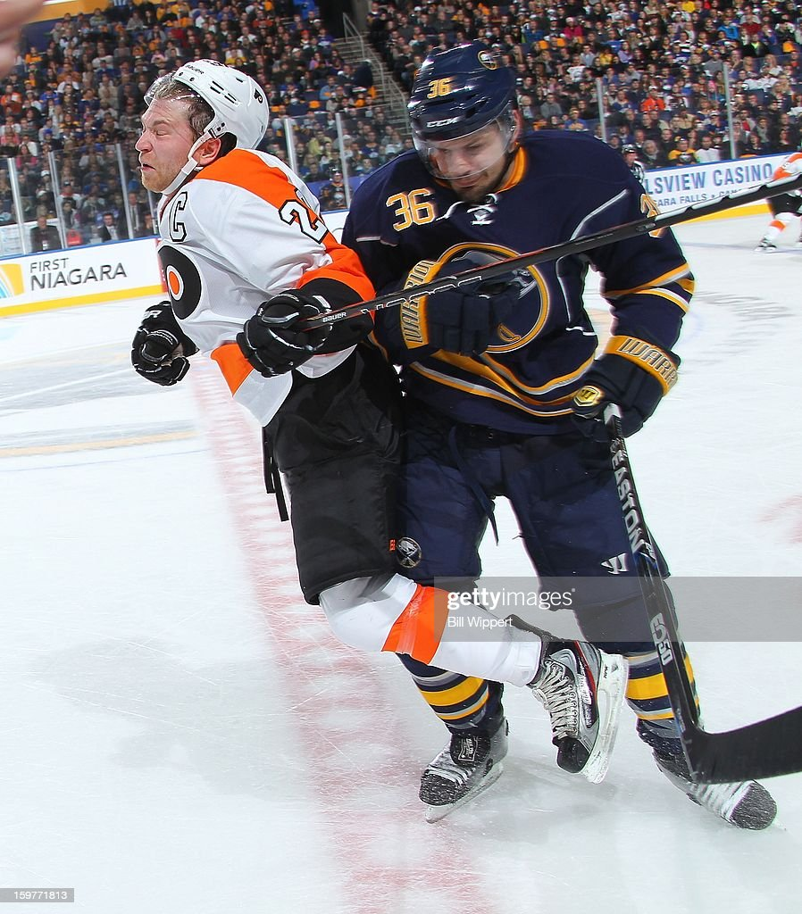 <a gi-track='captionPersonalityLinkClicked' href=/galleries/search?phrase=Patrick+Kaleta&family=editorial&specificpeople=714513 ng-click='$event.stopPropagation()'>Patrick Kaleta</a> #36 of the Buffalo Sabres checks <a gi-track='captionPersonalityLinkClicked' href=/galleries/search?phrase=Claude+Giroux&family=editorial&specificpeople=537961 ng-click='$event.stopPropagation()'>Claude Giroux</a> #28 of the Philadelphia Flyers on January 20, 2013 at the First Niagara Center in Buffalo, New York.