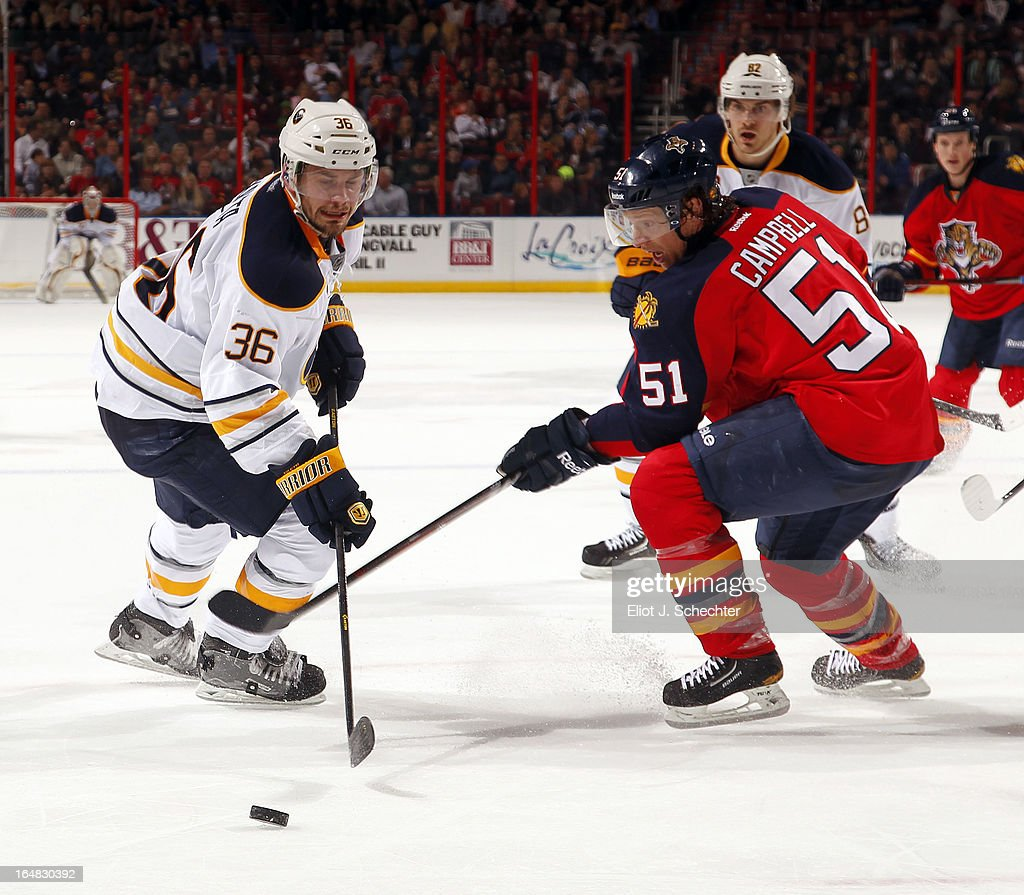 Patrick Kaleta of the Buffalo Sabres crosses sticks with with Brian Campbell of the Florida Panthers at the BBT Center on March 28 2013 in Sunrise...