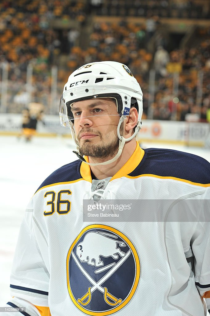 Patrick Kaleta of the Buffalo Sabres during warm ups prior to the game against the Boston Bruins at the TD Garden on April 7 2012 in Boston...