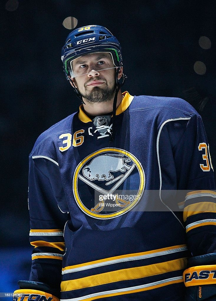 Patrick Kaleta #36 of the Buffalo Sabres is introduced to the crowd before a game against the Ottawa Senators on October 4, 2013 in the home opener at the First Niagara Center in Buffalo, New York.
