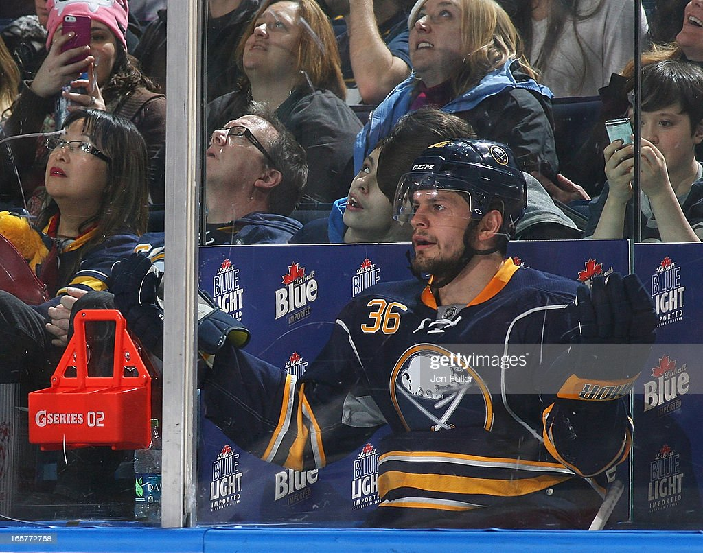 Patrick Kaleta #36 of the Buffalo Sabres motions to the referee after receiving an elbowing penalty during the second period against the Ottawa Senators on April 05, 2013 at the First Niagara Center in Buffalo, New York.