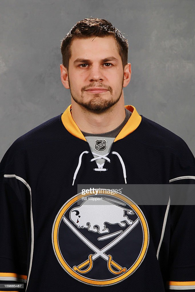 Patrick Kaleta of the Buffalo Sabres poses for his official headshot for the 20122013 season on January 13 2013 at the First Niagara Center in...