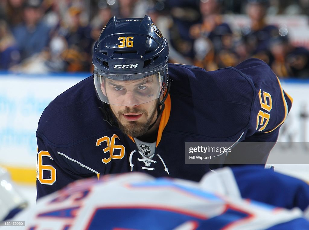 <a gi-track='captionPersonalityLinkClicked' href=/galleries/search?phrase=Patrick+Kaleta&family=editorial&specificpeople=714513 ng-click='$event.stopPropagation()'>Patrick Kaleta</a> #36 of the Buffalo Sabres prepares for a faceoff against the New York Islanders on February 23, 2013 at the First Niagara Center in Buffalo, New York.