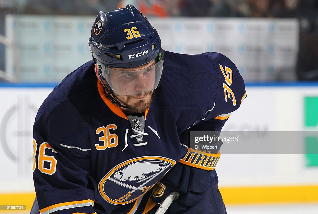 Patrick Kaleta of the Buffalo Sabres prepares for a faceoff against the Philadelphia Flyers on January 17 2015 at the First Niagara Center in Buffalo...