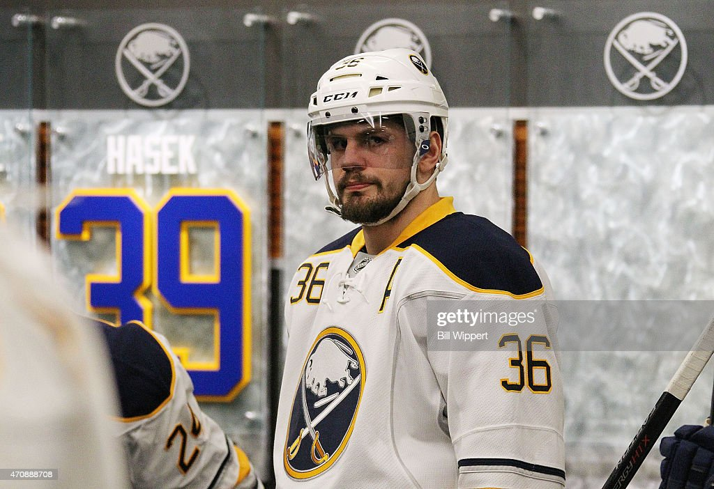 Patrick Kaleta of the Buffalo Sabres prepares to take to the ice to play the Pittsburgh Penguins on April 11 2015 at the First Niagara Center in...