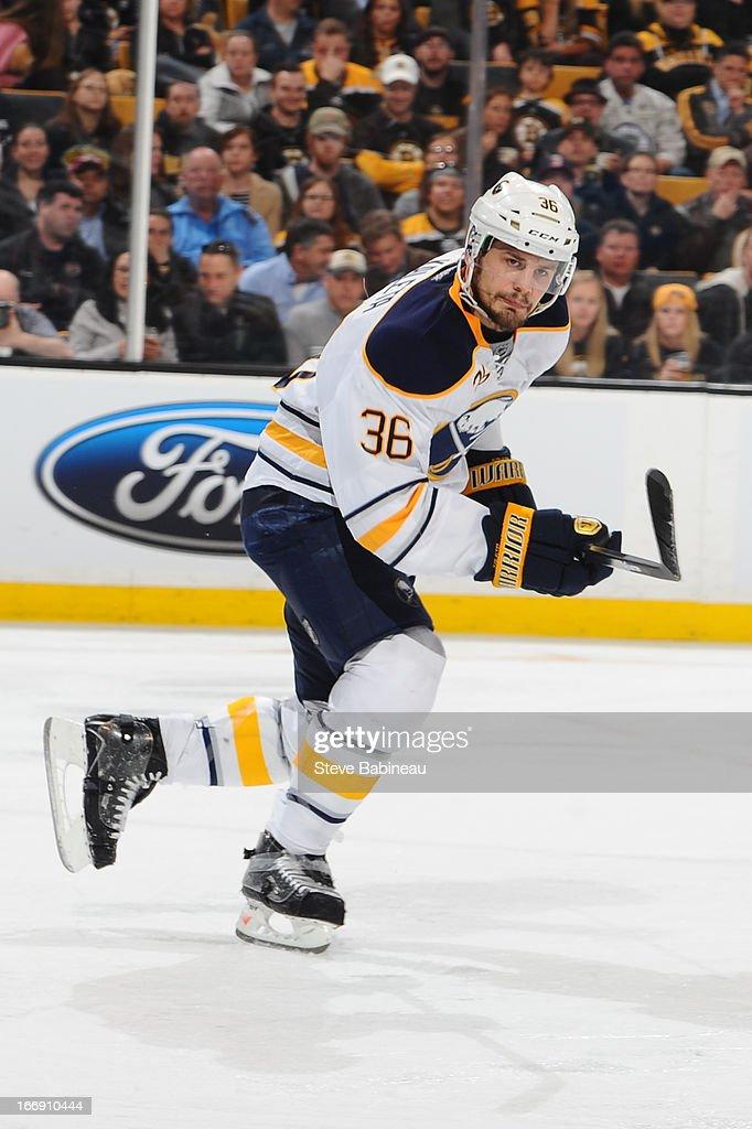 Patrick Kaleta of the Buffalo Sabres skates against the Boston Bruins at the TD Garden on April 17 2013 in Boston Massachusetts