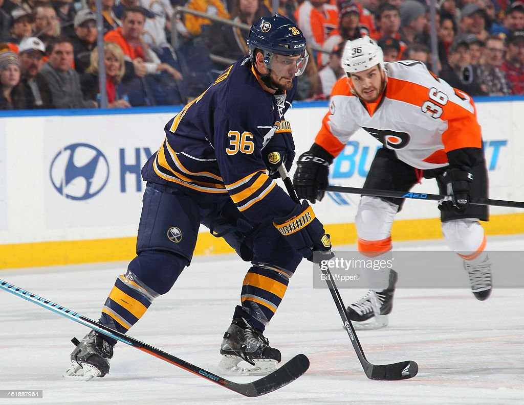 Patrick Kaleta of the Buffalo Sabres skates against the Philadelphia Flyers on January 17 2015 at the First Niagara Center in Buffalo New York