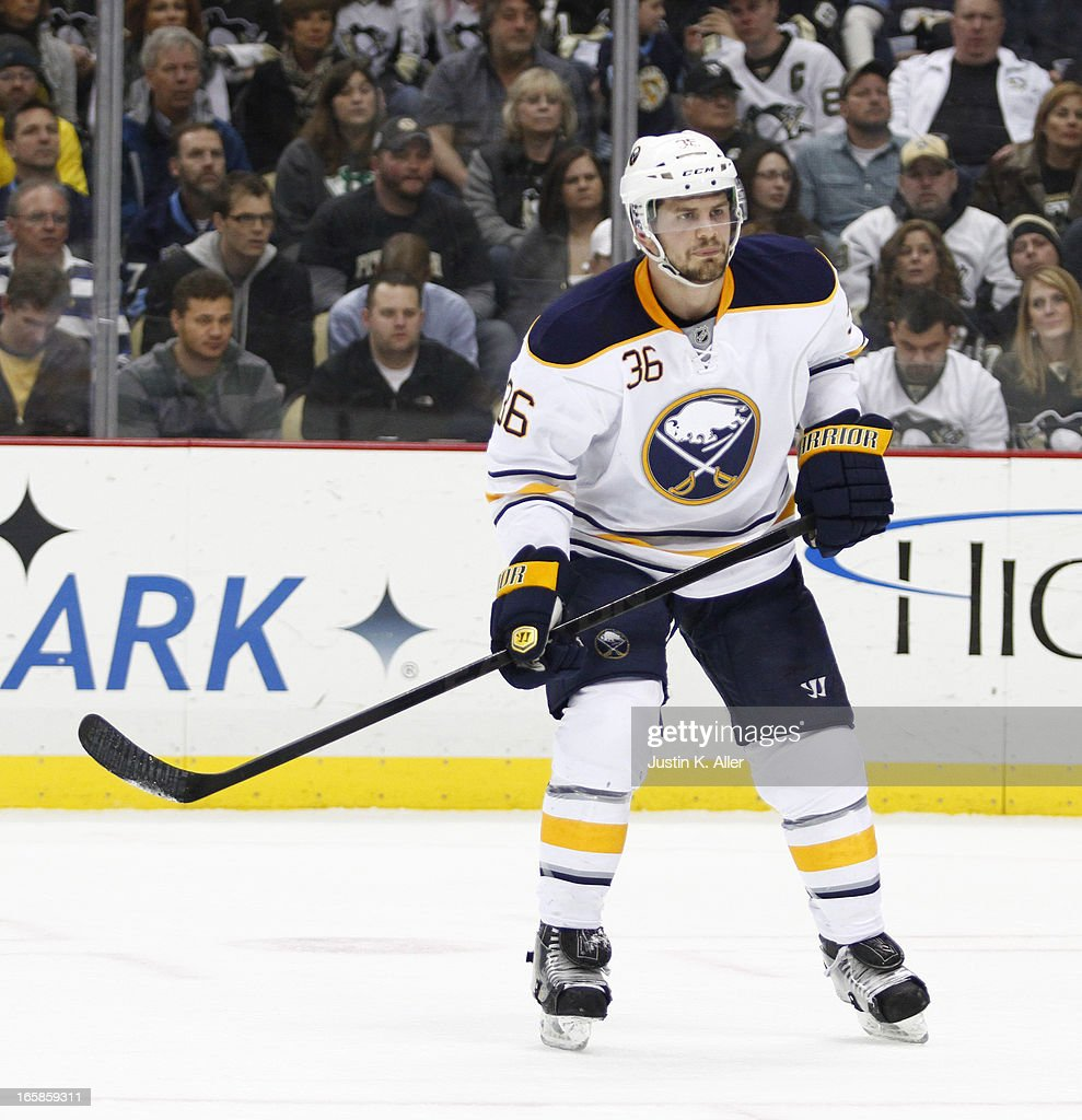 Patrick Kaleta of the Buffalo Sabres skates against the Pittsburgh Penguins during the game at Consol Energy Center on April 2 2013 in Pittsburgh...