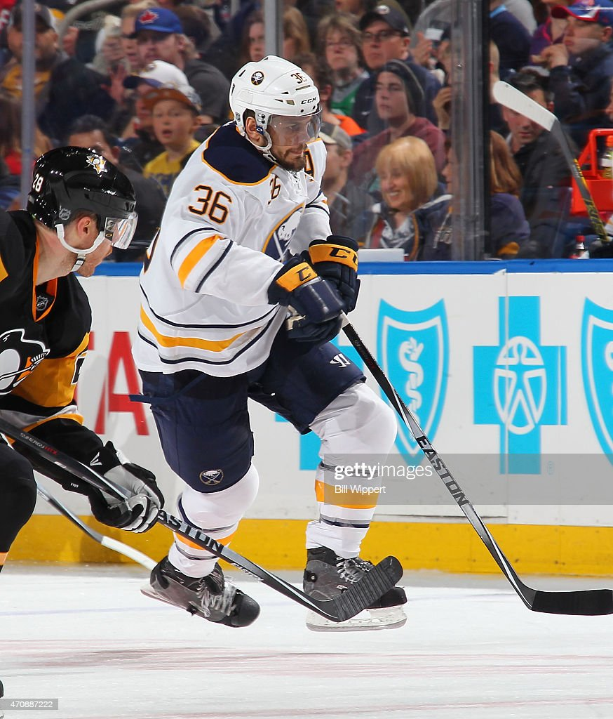 Patrick Kaleta of the Buffalo Sabres skates against the Pittsburgh Penguins on April 11 2015 at the First Niagara Center in Buffalo New York