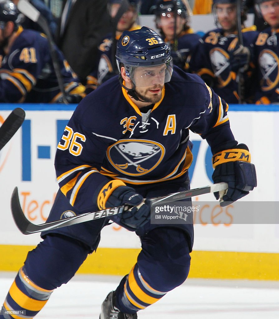 Patrick Kaleta of the Buffalo Sabres skates against the Toronto Maple Leafs on April 1 2015 at the First Niagara Center in Buffalo New York