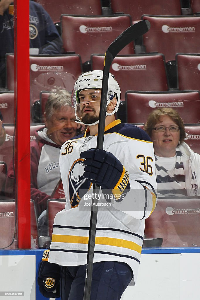 Patrick Kaleta of the Buffalo Sabres skates prior to the game against the Florida Panthers at the BBT Center on February 28 2013 in Sunrise Florida...