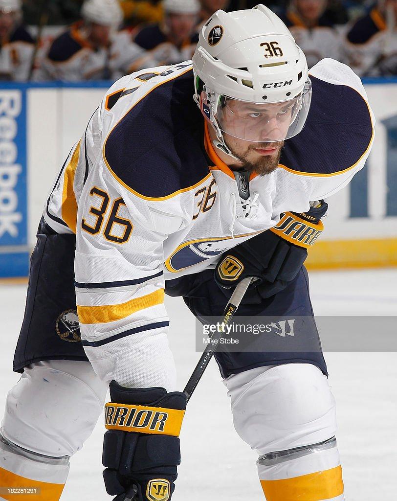 Patrick Kaleta of the Buffalo Sabres skates the New York Islanders at Nassau Veterans Memorial Coliseum on Febuary 9 2013 in Uniondale New York The...