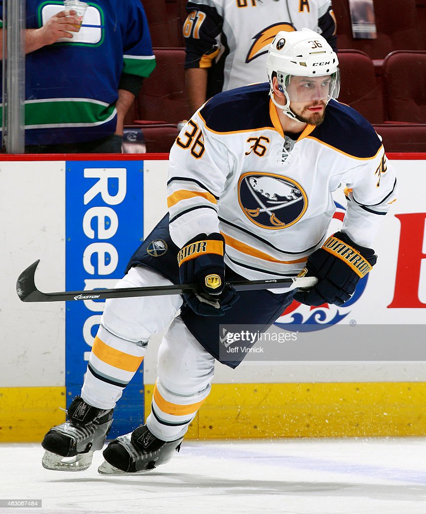 Patrick Kaleta of the Buffalo Sabres skates up ice during their NHL game against the Vancouver Canucks at Rogers Arena January 30 2015 in Vancouver...