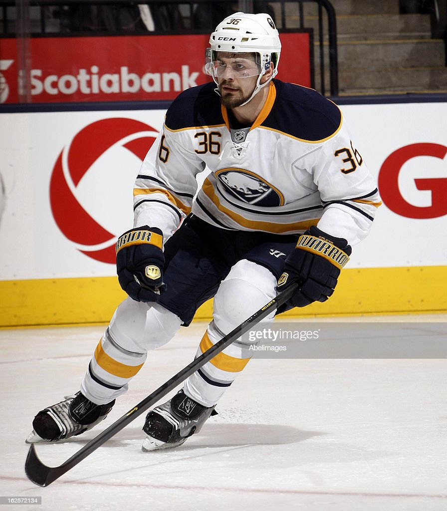 Patrick Kaleta of the Buffalo Sabres skates up the ice against the Toronto Maple Leafs during NHL action at the Air Canada Centre February 21 2013 in...
