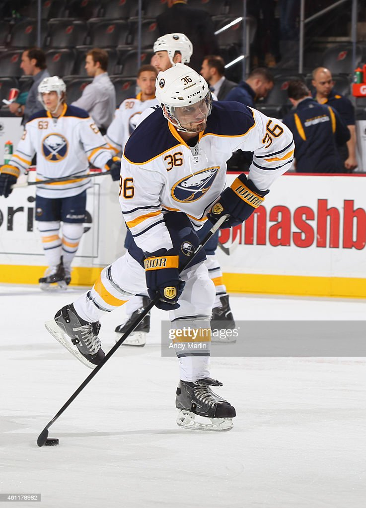 Patrick Kaleta of the Buffalo Sabres takes a shot during pregame warmups prior to the game against the New Jersey Devils at the Prudential Center on...