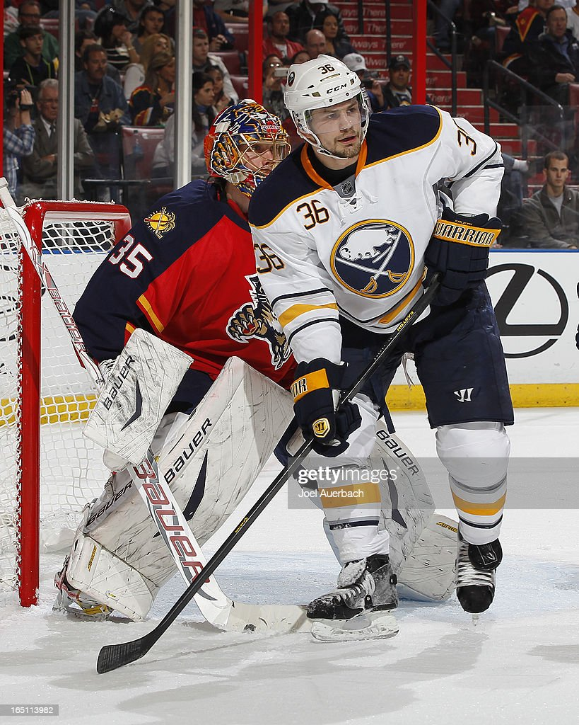 Patrick Kaleta of the Buffalo Sabres waits for a tip in attempt in front of goaltender Jacob Markstrom of the Florida Panthers at the BBT Center on...