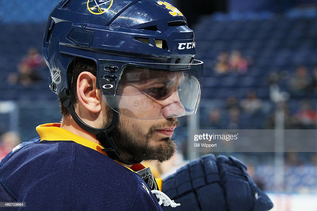 Patrick Kaleta of the Buffalo Sabres warms up before a game against the Ottawa Senators on December 15 2014 at the First Niagara Center in Buffalo...