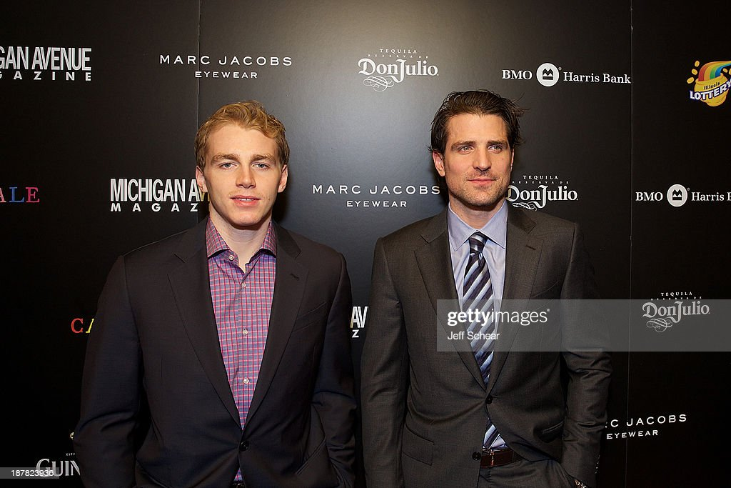 Patrick Kane and <a gi-track='captionPersonalityLinkClicked' href=/galleries/search?phrase=Patrick+Sharp&family=editorial&specificpeople=206279 ng-click='$event.stopPropagation()'>Patrick Sharp</a> attend Michigan Avenue Magazine November Cover Celebration Hosted By Chicago Blackhawks' <a gi-track='captionPersonalityLinkClicked' href=/galleries/search?phrase=Patrick+Sharp&family=editorial&specificpeople=206279 ng-click='$event.stopPropagation()'>Patrick Sharp</a> & Patrick Kane at Carnivale on November 12, 2013 in Chicago, Illinois.