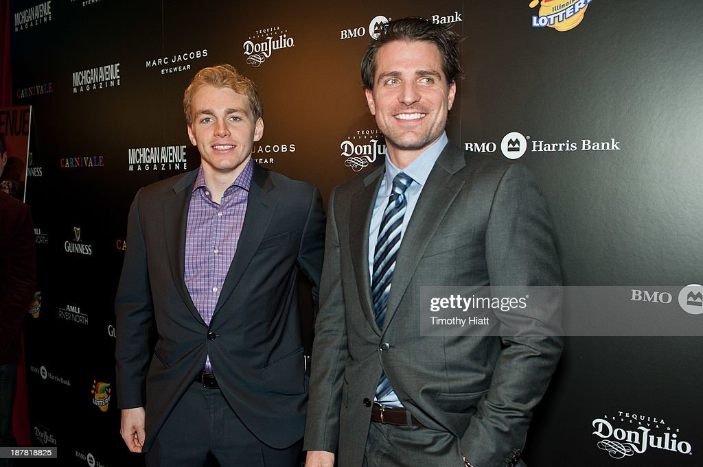 Patrick Kane and <a gi-track='captionPersonalityLinkClicked' href=/galleries/search?phrase=Patrick+Sharp&family=editorial&specificpeople=206279 ng-click='$event.stopPropagation()'>Patrick Sharp</a> of the Chicago Blackhawks attend the Michigan Avenue Magazine November issue celebration at Carnivale on November 12, 2013 in Chicago, Illinois.