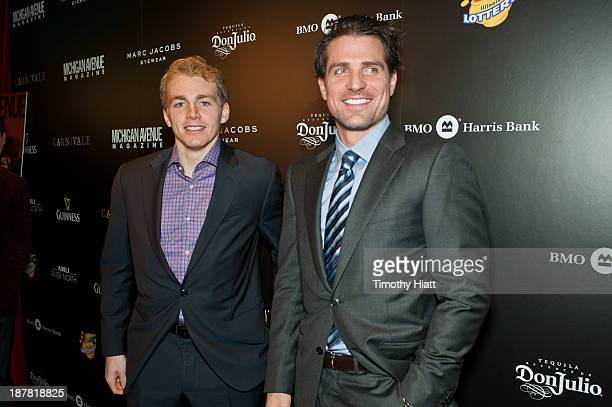 Patrick Kane and Patrick Sharp of the Chicago Blackhawks attend the Michigan Avenue Magazine November issue celebration at Carnivale on November 12...