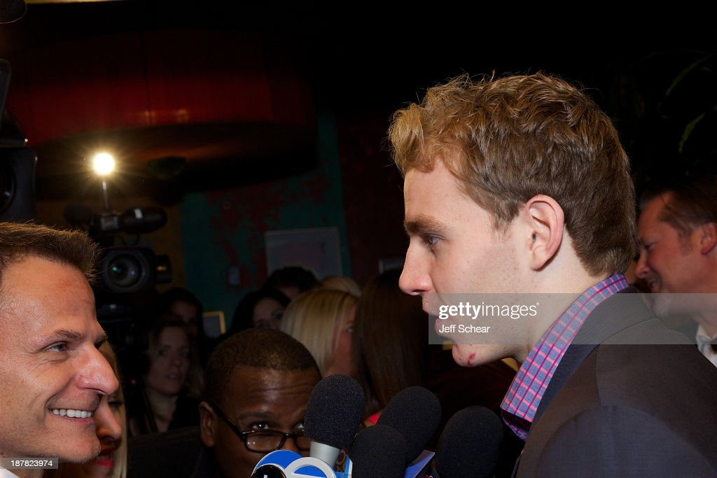 Patrick Kane (R) attends Michigan Avenue Magazine November Cover Celebration Hosted By Chicago Blackhawks' Patrick Sharp & Patrick Kane at Carnivale on November 12, 2013 in Chicago, Illinois.