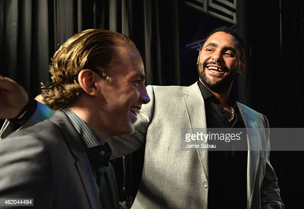 Patrick Kane of the Chicago Blackhawks and Dustin Byfuglien of the Winnipeg Jets laugh before the NHL AllStar Fantasy Draft as part of the 2015 NHL...