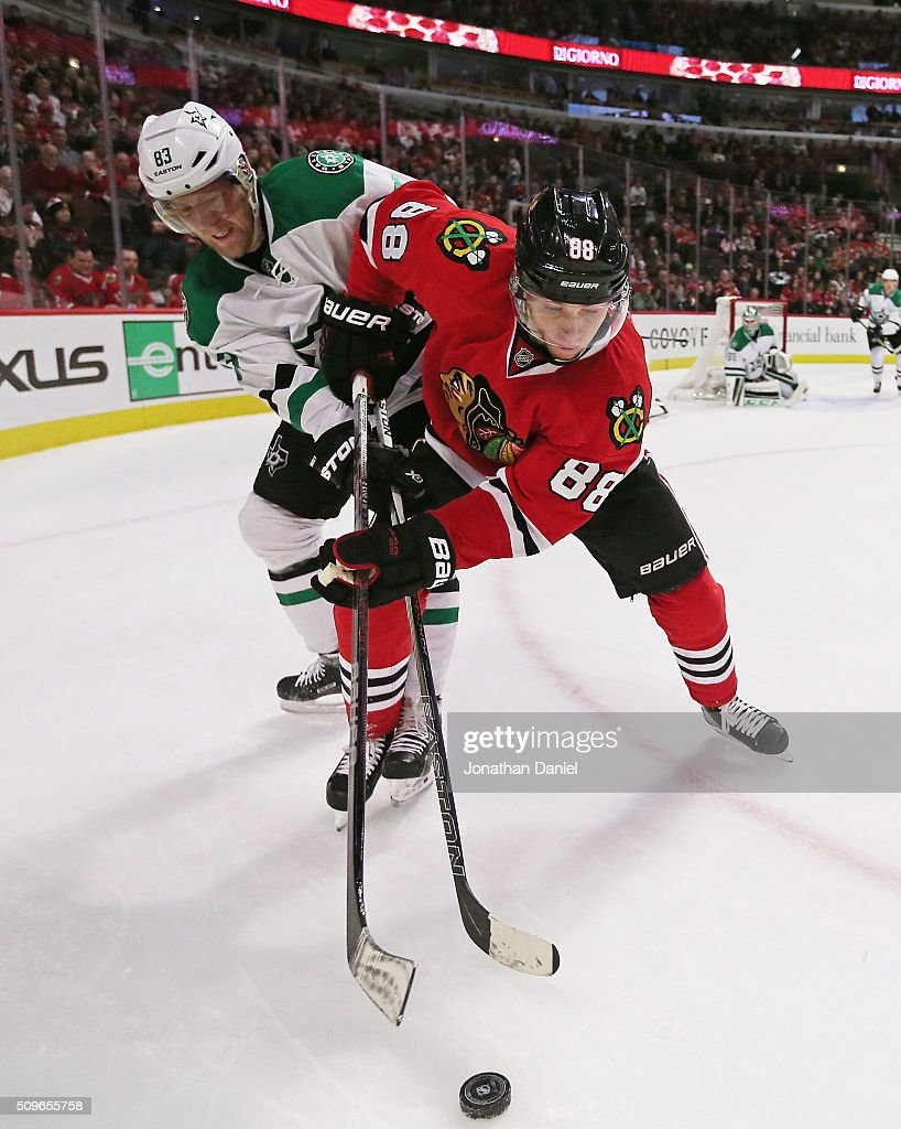 <a gi-track='captionPersonalityLinkClicked' href=/galleries/search?phrase=Patrick+Kane&family=editorial&specificpeople=1977261 ng-click='$event.stopPropagation()'>Patrick Kane</a> #88 of the Chicago Blackhawks battles for the puck with <a gi-track='captionPersonalityLinkClicked' href=/galleries/search?phrase=Ales+Hemsky&family=editorial&specificpeople=202828 ng-click='$event.stopPropagation()'>Ales Hemsky</a> #83 of the Dallas Stars at the United Center on February 11, 2016 in Chicago, Illinois.