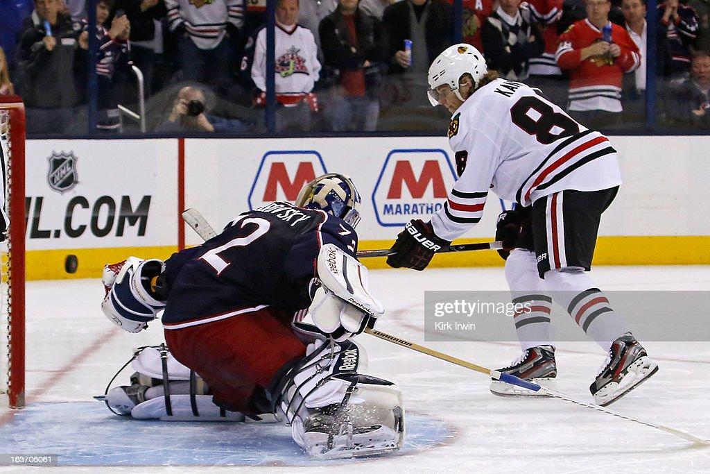 Patrick Kane #88 of the Chicago Blackhawks beats <a gi-track='captionPersonalityLinkClicked' href=/galleries/search?phrase=Sergei+Bobrovsky&family=editorial&specificpeople=4488556 ng-click='$event.stopPropagation()'>Sergei Bobrovsky</a> #72 of the Columbus Blue Jackets for the game winning goal during the shootout on March 14, 2013 at Nationwide Arena in Columbus, Ohio. Chicago defeated Columbus 2-1 in a shootout.