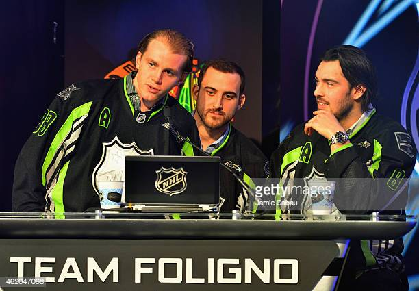 Patrick Kane of the Chicago Blackhawks Captain Nick Foligno of the Columbus Blue Jackets and Drew Doughty of the Los Angeles Kings of Team Foligno...