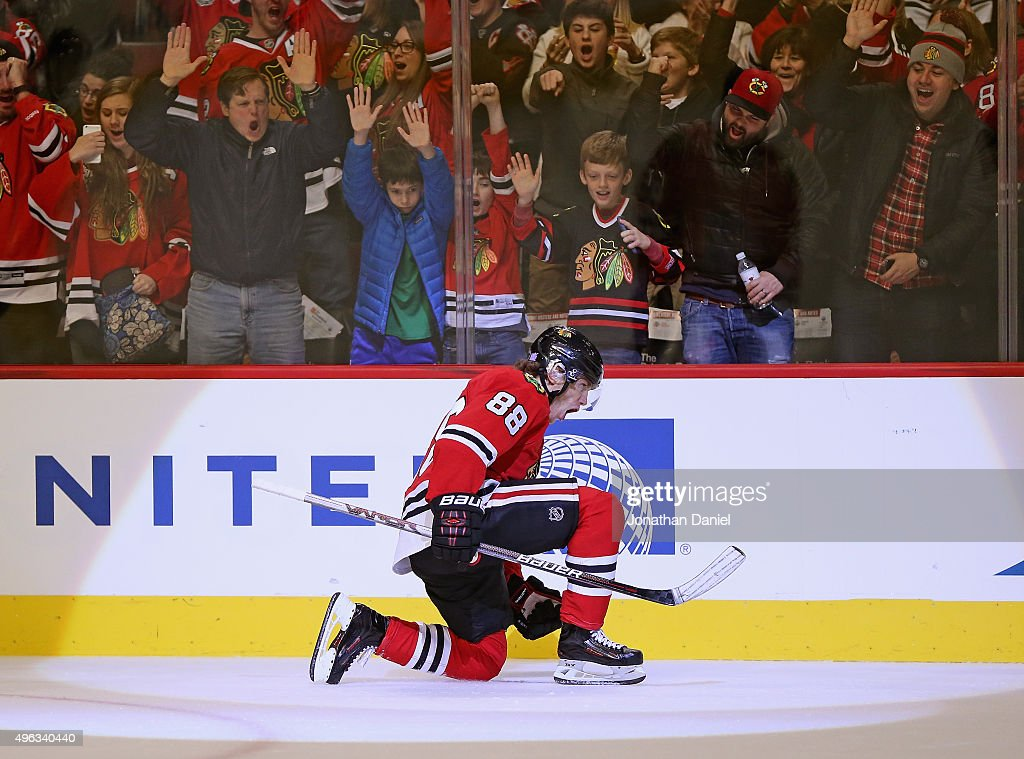 <a gi-track='captionPersonalityLinkClicked' href=/galleries/search?phrase=Patrick+Kane&family=editorial&specificpeople=1977261 ng-click='$event.stopPropagation()'>Patrick Kane</a> #88 of the Chicago Blackhawks celebrates a third period goal against the Edmonton Oilers at the United Center on November 8, 2015 in Chicago, Illinois. The Blackhawks defeated the Oilers 4-2.
