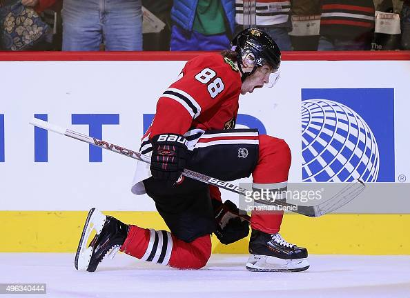 Patrick Kane of the Chicago Blackhawks celebrates a third period goal against the Edmonton Oilers at the United Center on November 8 2015 in Chicago...