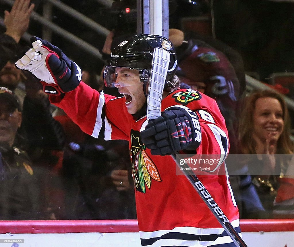 <a gi-track='captionPersonalityLinkClicked' href=/galleries/search?phrase=Patrick+Kane&family=editorial&specificpeople=1977261 ng-click='$event.stopPropagation()'>Patrick Kane</a> #88 of the Chicago Blackhawks celebrates a third period goal against the Montreal Canadiens at the United Center on January 17, 2016 in Chicago, Illinois. The Blackhawks defeated the Canadiens 5-2.