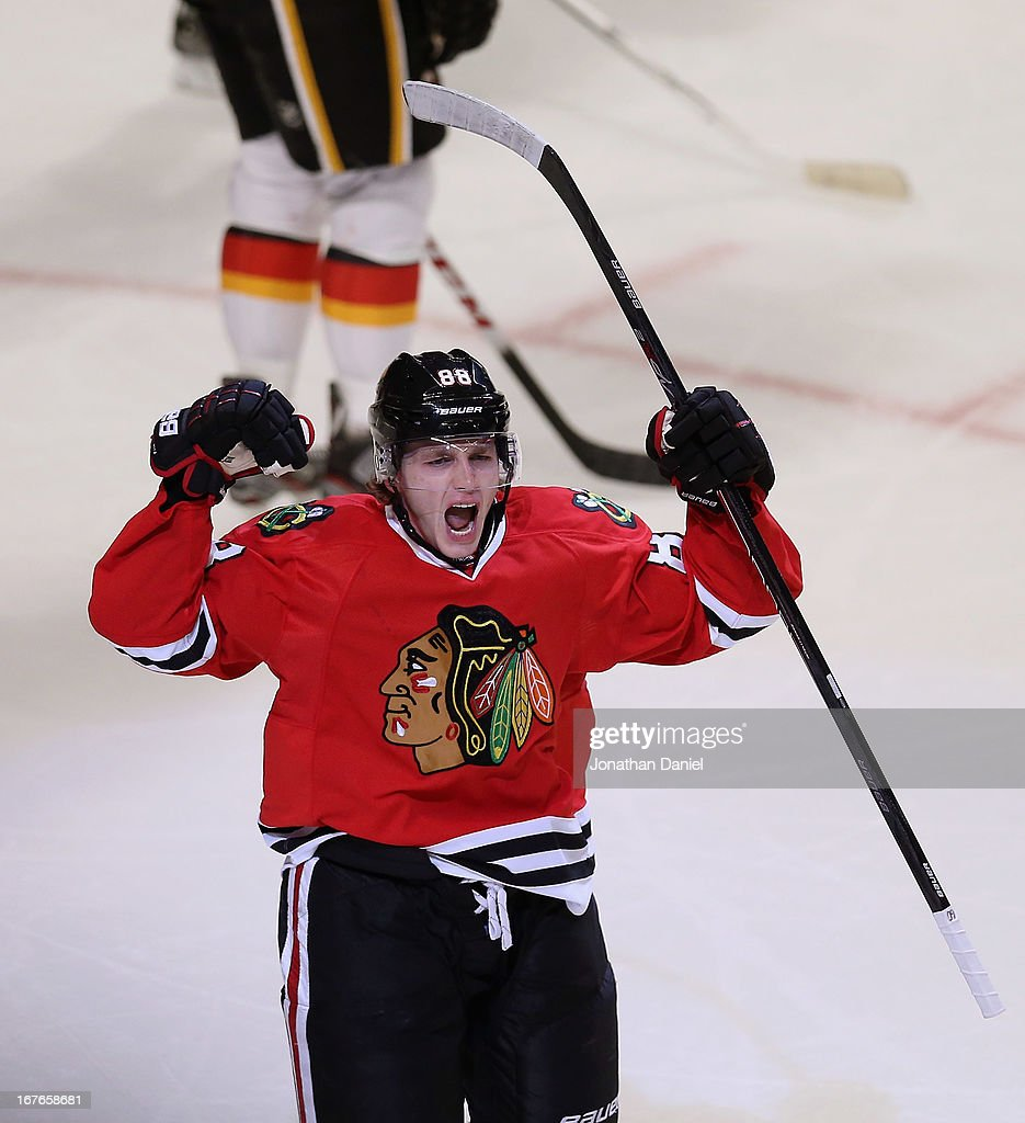 Patrick Kane #88 of the Chicago Blackhawks celebrates his first period goal, his 23rd of the season, against the Calgary Flames at the United Center on April 26, 2013 in Chicago, Illinois. The Blackhawks defeated the Flames 3-1.