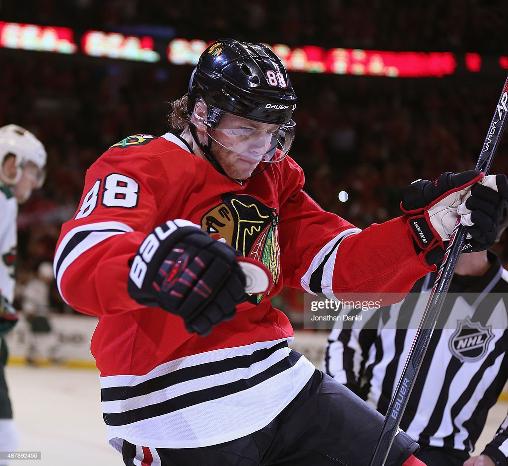 Patrick Kane #88 of the Chicago Blackhawks celebrates the first of his third period goals against the Minnesota Wild in Game One of the Second Round of the 2014 NHL Stanley Cup Playoffs at the United Center on May 2, 2014 in Chicago, Illinois. The Blackhawks defeated the Wild 5-2.