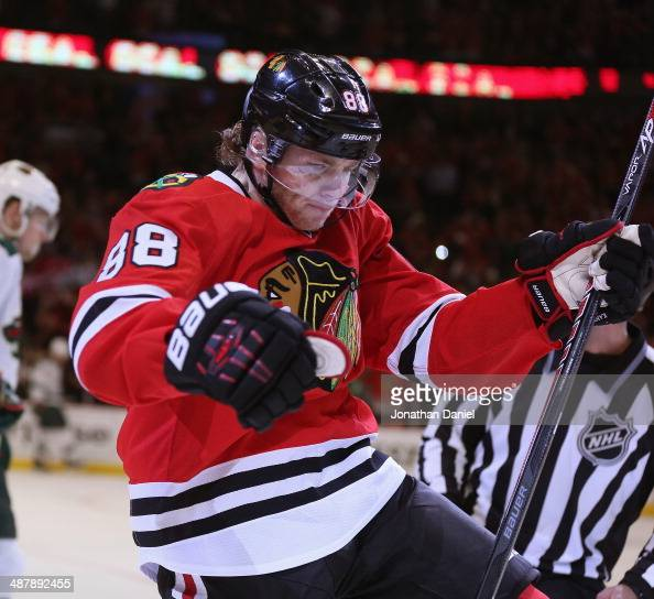 Patrick Kane of the Chicago Blackhawks celebrates the first of his third period goals against the Minnesota Wild in Game One of the Second Round of...