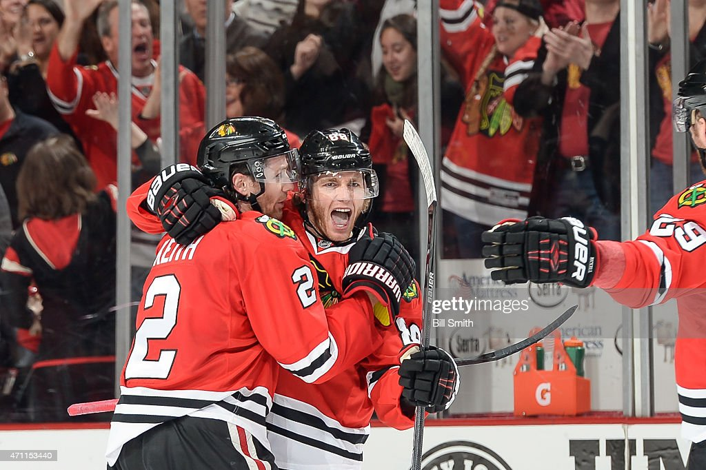Patrick Kane #88 of the Chicago Blackhawks celebrates with Duncan Keith #2 after scoring against the Nashville Predators in the first period in Game Six of the Western Conference Quarterfinals during the 2015 NHL Stanley Cup Playoffs at the United Center on April 25, 2015 in Chicago, Illinois.