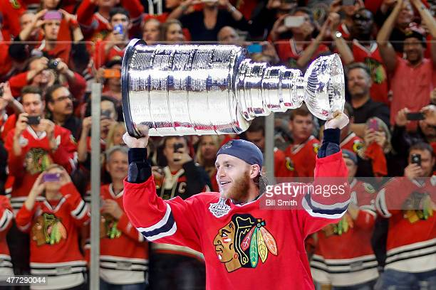 Patrick Kane of the Chicago Blackhawks celebrates with the Stanley Cup after defeating the Tampa Bay Lightning 20 in Game Six to win the 2015 NHL...