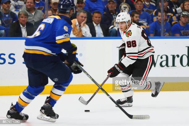 Patrick Kane of the Chicago Blackhawks controls the puck against the St Louis Blues in the second period at the Scottrade Center on October 18 2017...